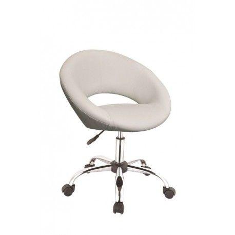 Tabouret chaise de bureau à roulette en cuir PU blanc BUR09037
