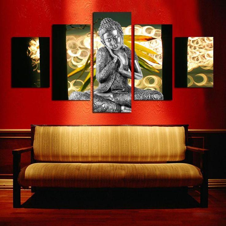 5 Piece Buddha Canvas Painting