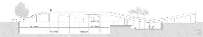 Проект «Гараж-трибуна с функцией спортивного комплекса». Автор: Руэда Марсело, студент 5 группы 3 курса. Разрез