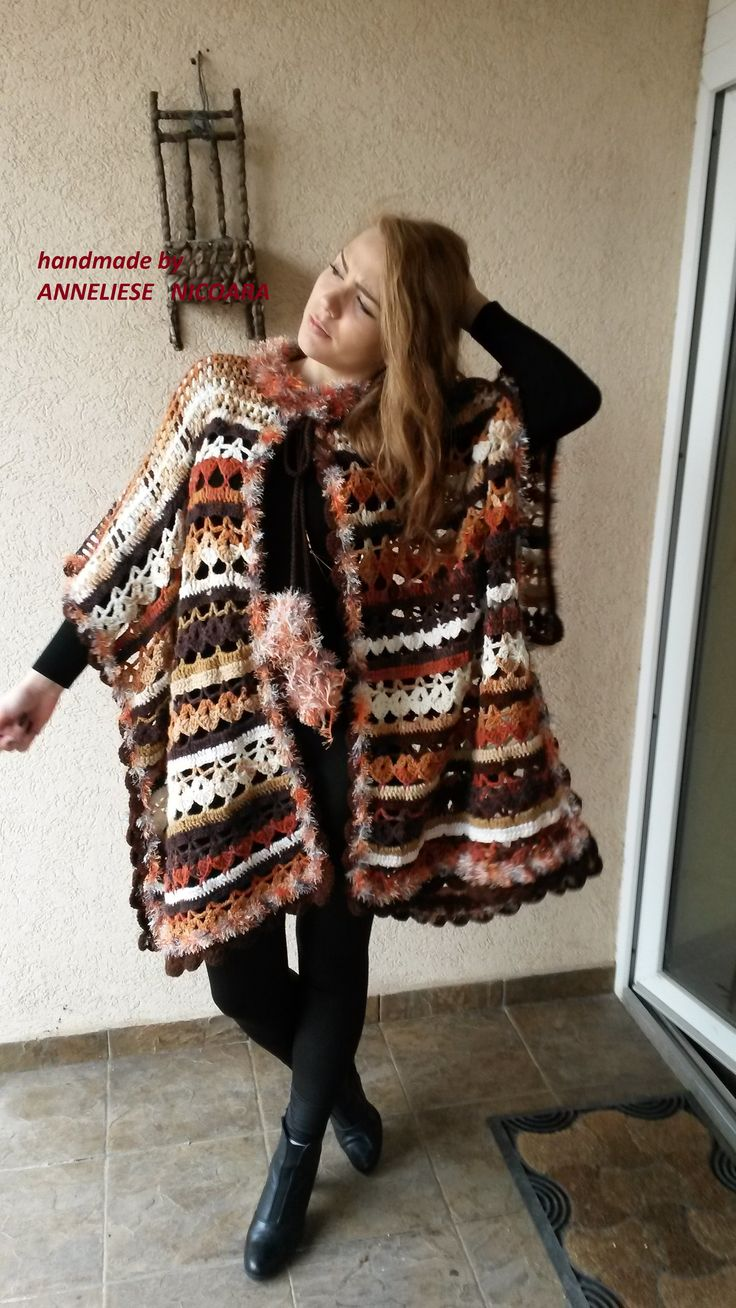 OOAK /Handcrocheted Bohemian Poncho in Fall colors /Plus size Jacket for Woman/Boho Poncho Warm Unique and COZY/Brown ,White ,Beige