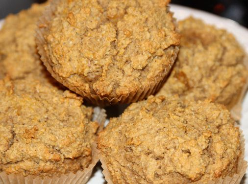 Maximized Living's Grainless Pumpkin Muffins!! 1/2 can pure pumpkin puree (7.5 ounces) – no sugar, 2 organic eggs, 1/4 tsp stevia extract or to taste (pure steviosices/ concentrated kind OR spoonable / liquid stevia but you'll need more), 4 T melted organic butter, 1 tsp pure vanilla extract, 3/4 tsp baking powder, 1/2 tsp nutmeg, 1/4 tsp cloves, 1/4 tsp ginger, 1/2 tsp sea salt, 1.5 tsp cinnamon, 1 cup almond flour, 1/2 cup finely chopped walnuts, OPTION: raisins/ chopped dates