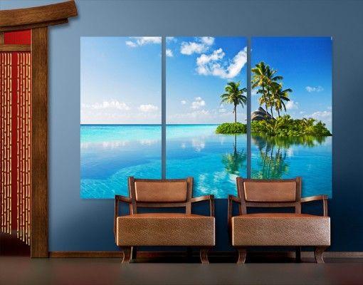 #Leinwandbild Tropisches #Paradies Triptychon I #Sommer #Sonne #Sonnenschein #Meer #Urlaub #Wanddeko #Wohndeko #Dekoideen #Insel