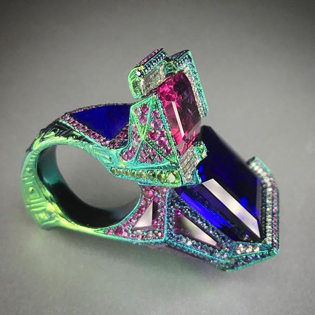Wallace Chan, Light Tango ring, tanzanite and pink tourmaline in titanium with fancy sapphire, tsavorite and lapis lazuli.