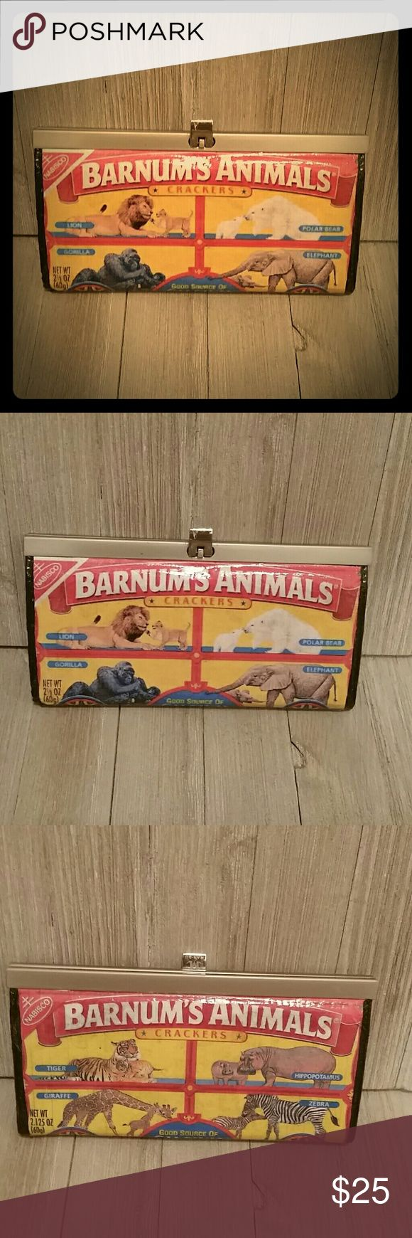 Barnum's Animal Crackers Circus Wallet This is a commercially made wallet that has been customized with the images shown. Please note the front image is a bit lower quality than the back. Wallet is coated with a gloss finish for style and durability. Measures 7.5 x 4 when closed, very roomy interior as shown in last pic. Bags Wallets