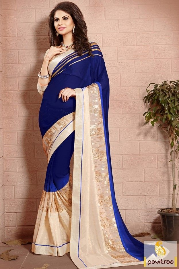 Buy pure georgette party wear saree In blue and beige color. Shop the modern style heavy embroidery and lace patty work saree in cheap cost. #saree, #designersaree more: http://www.pavitraa.in/store/designer-sarees/