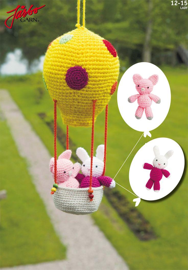 Dagens oppskrift: Gris og kanin i luftballong | Hekleoppskrift