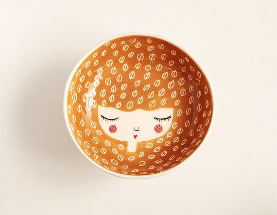 Face illustrated ceramic bowl in Honey colour by MarinskiHandmades, $35.00