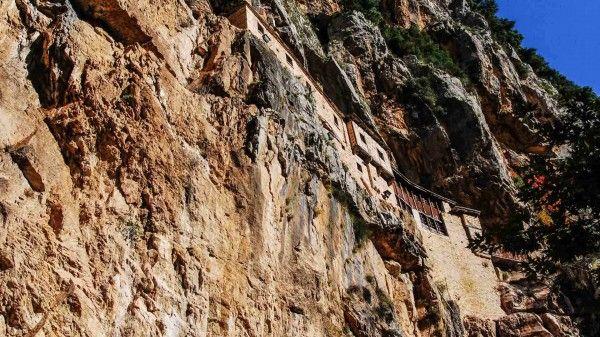 Monasteries wedged in cliffs, in Kalaritiko gorge