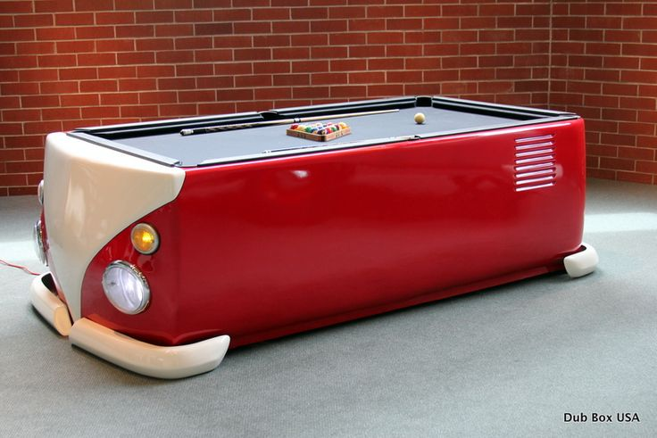 dub box makes a pool table that looks like an old vw bus