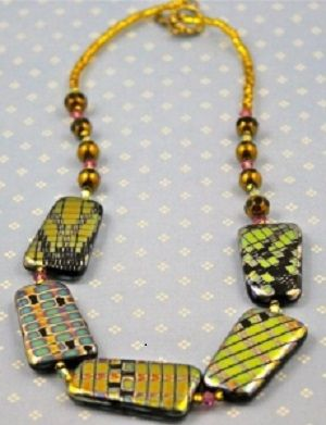 Amazing Unique Large Square Venetian Yellow Greenish and Black #necklace. Available at http://buybeadednecklaceonline.com