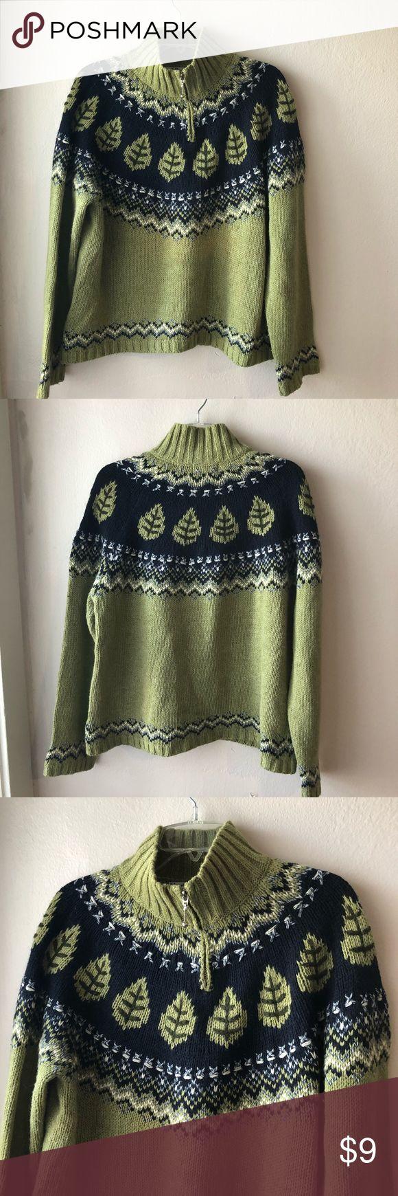 Green Zip up sweater. Women's size Large North Style women's Green Zip Up Sweater. Women's size Large. New condition north style Sweaters Crew & Scoop Necks
