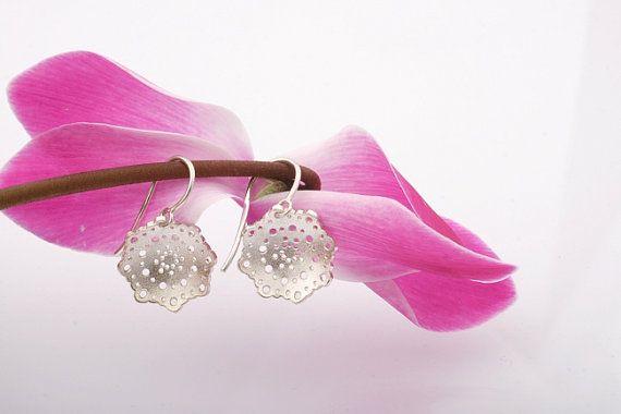 Doily Earrings. Silver Bridal Drop Earrings by CaiSanni via Etsy.