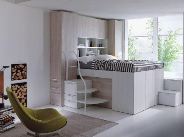 lit mezzanine deux places espace-stockage-studio