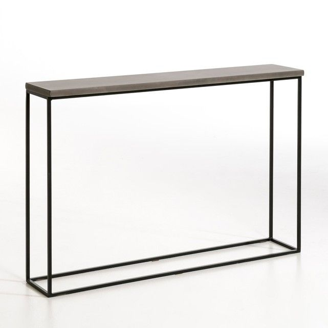 Elegant and industrial, the Chara console table will catapult your home into the future.Designed in an impeccably modern style with contemporary materials, this table is sleek and slimline - perfect for a hallway or entrance.With a concrete-effect top and slender metal frame, the Chara is at once both delicate and industrial. Style with equally modern, minimal accessories to enhance the eye-catching mix of materials. Concrete-effect topSlimlineContemporary shapeMaterials: Concrete-effect…