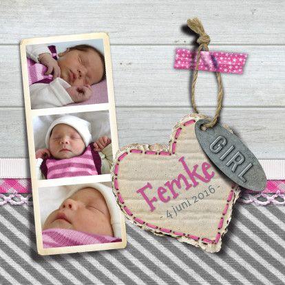 YVON geboorte meisje foto hout - Geboortekaartjes - Kaartje2go