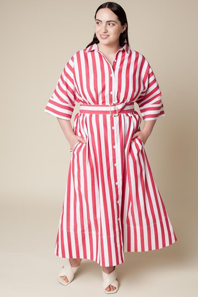 0ddc041dd06 Rachel Antonoff Benay Shirt Dress Red and White Stripe