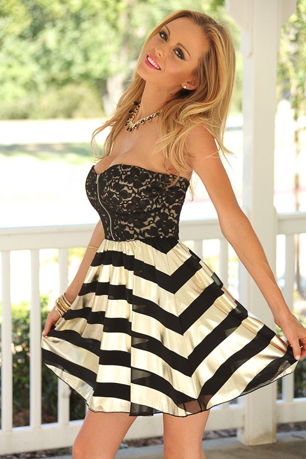 Black Lace Front Zip Bodice Gold Stripe Skirt Strapless