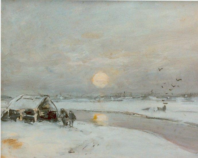 Lodewijk Franciscus Hendrik 'Louis' Apol (Den Haag 1850-1936) Bevroren vaart bij zonsondergang - Kunsthandel Simonis en Buunk, Ede (Nederland).