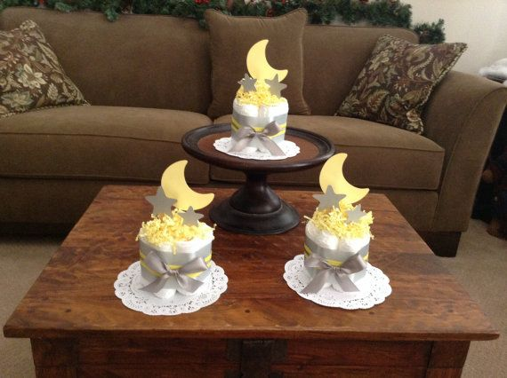 Moon and stars twinkle twinkle Diaper Cake Baby Shower Centerpiece bundt cake size other toppers and colors prices too