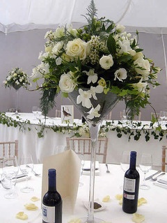 Large martini vase flower centrepiece - wrong colours but an example of the size of the luxury sized design
