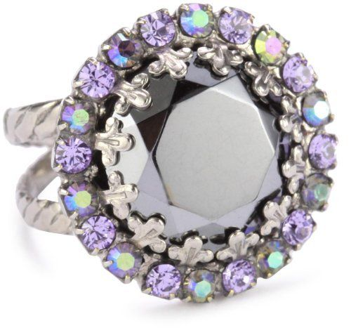 """Sorrelli """"Chantilly Lace"""" Circular Crystal Adjustable Silver-Tone Ring Sorrelli. $37.50. The Sorrelli vision, to create beautiful jewelry and bring enjoyment to those who wear it, continues today. To keep your jewelry looking its best, clean it periodically with a mild soap and water. Made in China. Sorrelli jewelry is hand crafted from genuine semi-precious stones and high quality Austrian crystals. A polishing cloth will keep the metal from oxidizing over time. Store..."""