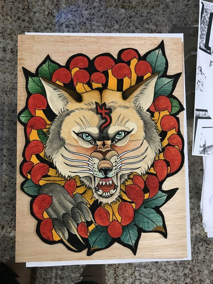 Wolf watercolor pinturita acuarela En madera lobo en crisantemo @cristopher_mendez_alfaro