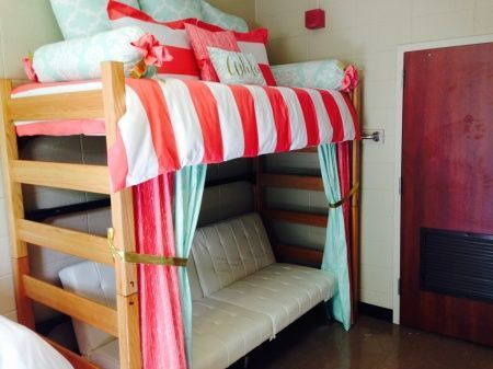 Lofted Dorm Room Bed Retreat Mint And Coral Ole Miss Sorority And Dorm Room  Bedding And Part 50