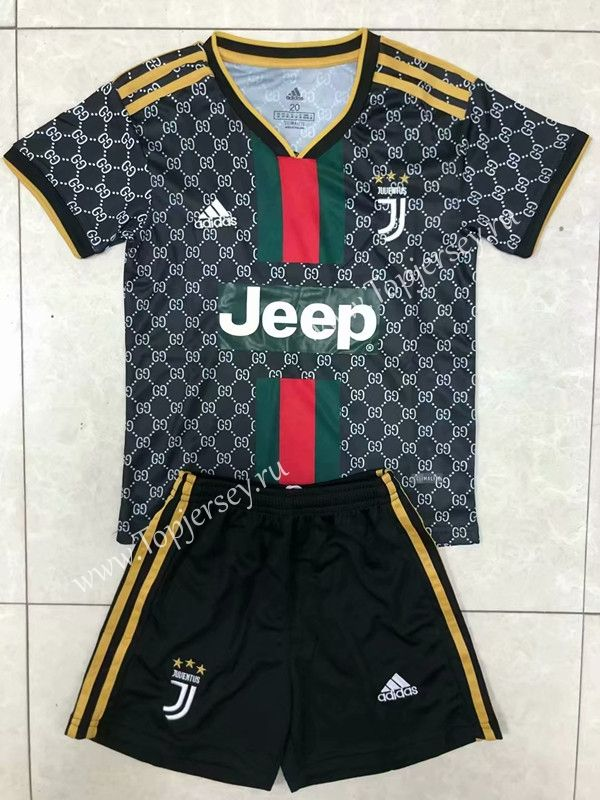 2019 2020 Juventus Gucci Black Kids Youth Soccer Uniform Soccer Uniforms Youth Soccer Black Kids