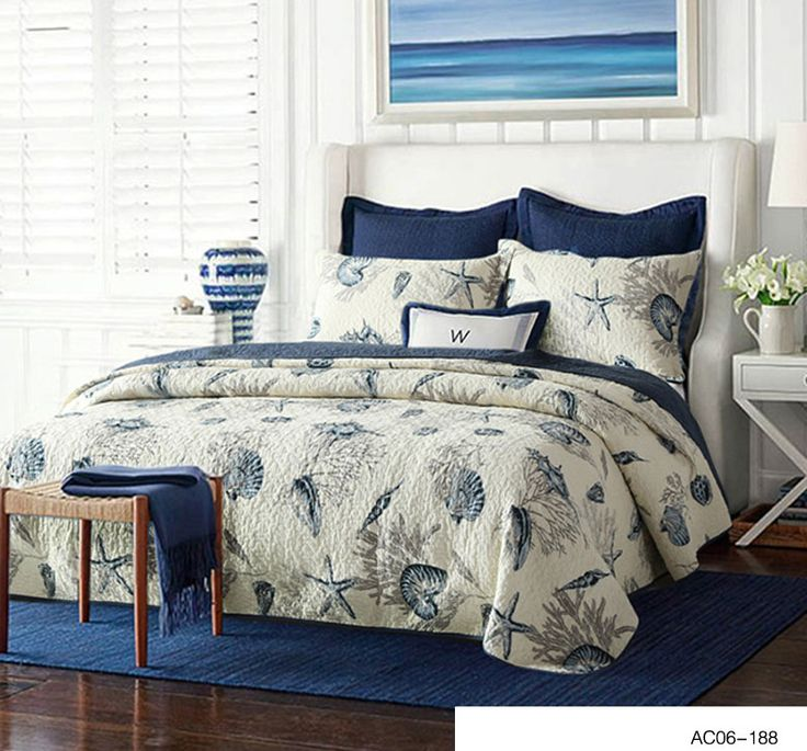 Quilted Bedspreads Starfish Bedspread Blue Color Queen Size Coverlet Set With Pillowcases Customizable 3pcs Waterwash Quilts
