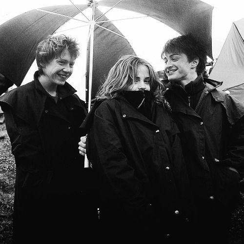 Rupert Grint, Emma Watson and Daniel Radcliffe on the set of Harry Potter and…