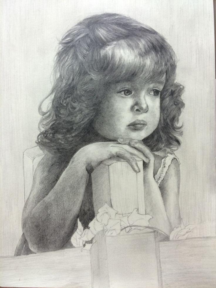 인터넷에서 참고한 사진으로 그린 그림. 소녀, pencil.