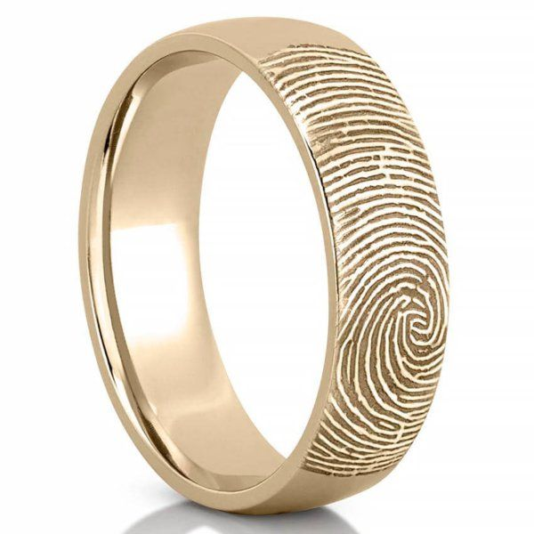 Palladium Offset Modern Line Fingerprint Wedding Ring With Interior Fingerprint Wrap Fingerprint Jewelry Fingerprint Wedding Wedding Rings