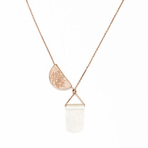 Rose Gold Lotus Moonlight Long Necklace