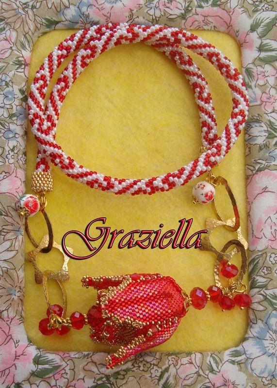 Collana beads crochet con pendente Eclosia