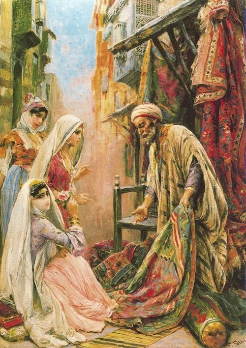 Venditore Ambulante di Tappeti: the Carpet Vendor  Fabio Fabbi (Italian orientalist Painter,  1861-1946)  -  19th century