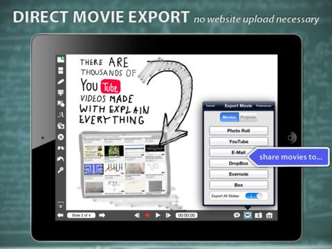"""Explain Everything - excellent """"whiteboard"""" app. Allows you to record a lesson which can be shared with students. Students can also create lessons for one another. Can import images (ie. stave, noteheads, images of instruments) and then annotate over the top. Also useful for graphic notation"""
