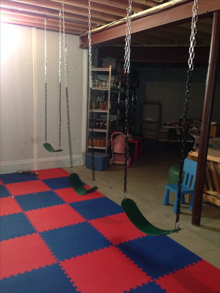 Swings in basement playroom