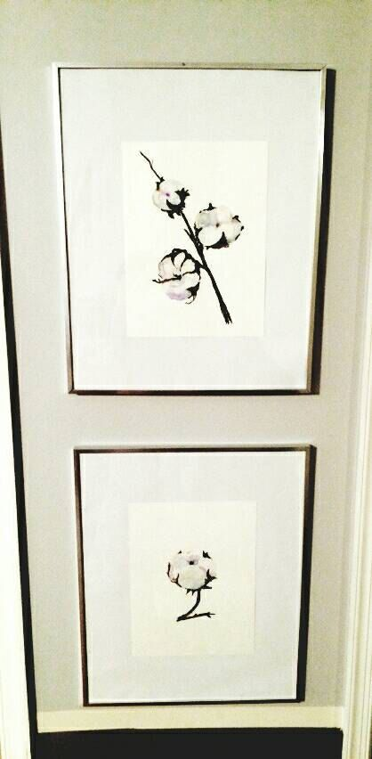 Check out this item in my Etsy shop https://www.etsy.com/listing/468264576/white-cotton-flowers-framed-art