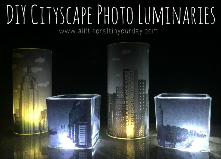 day we're both going to share with you how to make your very own DIY Cityscape Photo Luminaries. These are so much fun to make and will be perfect.