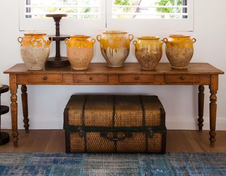Interiors by Marni Berger as seen in Home Beautiful, our French pots and long French console table. #interiors #antiques #elementsilove