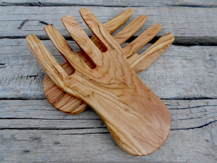 Engraved Olive Wood Salad Hands Mixing Serving Tongs Set / Wooden Kitchen Cooking Utensils Tools / Rustic Wedding Gift