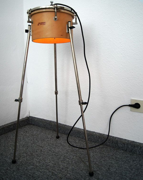Trommel als Stehlampe Design Cool Handmade + 1 LED Leuchtmittel GRATIS in Möbel & Wohnen, Beleuchtung, Lampen | eBay