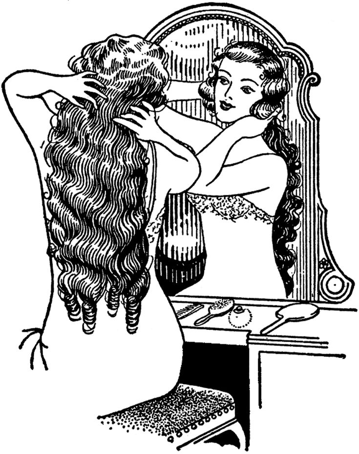 Vintage Long Hair Image - Lovely! - The Graphics Fairy