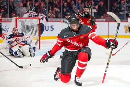 Team Canada forward Anthony Duclair celebrates his first period goal against Slovakia during the 2015 IIHF World Junior Championship in Montreal on Friday, Dec. 26. (Johany JutrasQMI Agency)