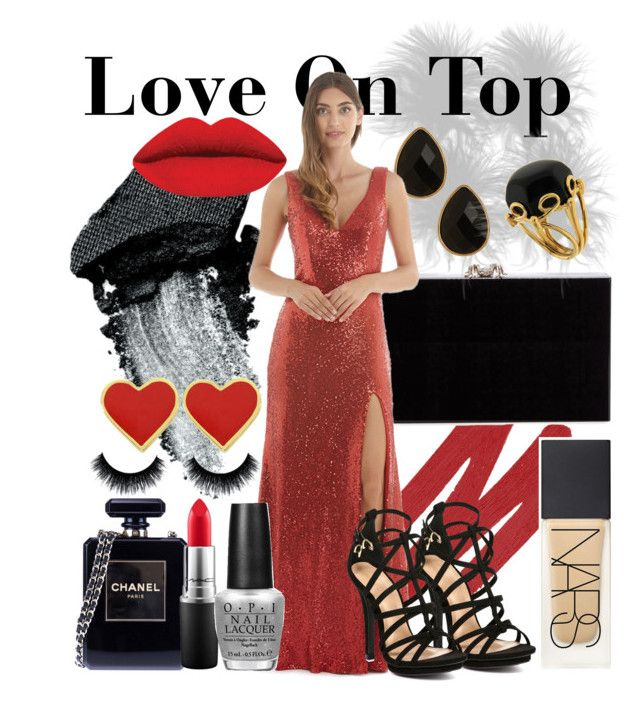 """""""Langhem Love On Top Red Evening Dress"""" by swishclothing-official on Polyvore featuring Gorgeous Cosmetics, NARS Cosmetics, Charlotte Olympia, Chanel, Natasha Accessories, MAC Cosmetics, OPI, Valentin Magro, women's clothing and women"""