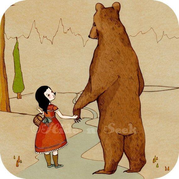Bear Print Girl and Bear holding hands friendship by HidenSeek, $9.90