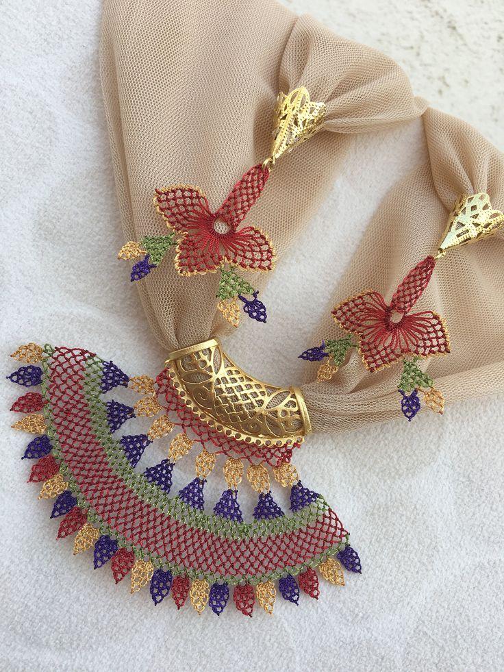 Jewelry turkish oya Needlework Handmade Necklace Needle