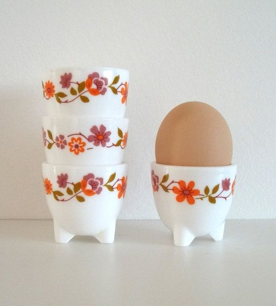 Retro Delicious ...Flower Egg Cup Holders 4  White Glass  Flower by agoodvintage, £16.00