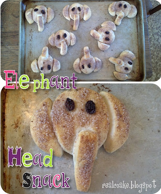 Simple and cute elephants made out of store bought biscuit dough. I think I'll make all my food for potlucks animals...my New M.O.