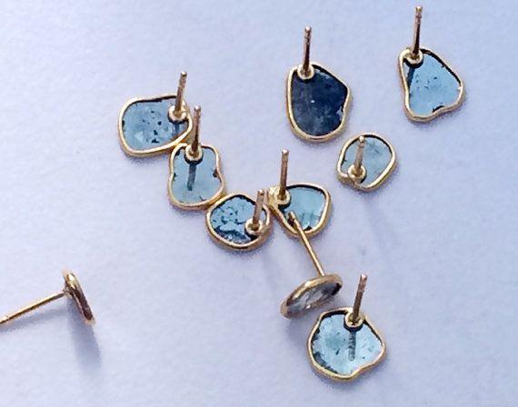 Blue Slice Rough Diamond Studs Diamond Slice by gemsforjewels
